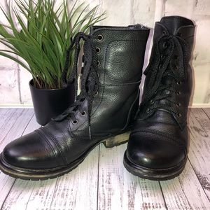 STEVE Madden black leather moto high ankle boots